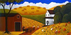 Original Painting Folk Art Autumn Fall Pumpkin Harvest Pumkin Farm Horse Dog | eBay