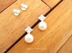 Pendientes de perlas y plata de ley con circonitas