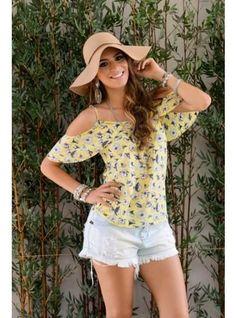 blusas vazadas no ombro amarela