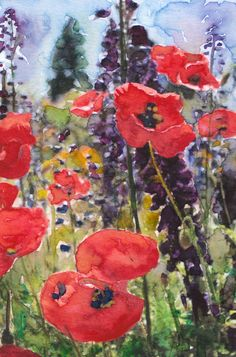 Red Poppy Field Painting Reproduction Poster Print by DIYArtMart, $10.00