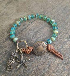 "Sea Horse & Starfish Hand Knotted Bracelet, ""Beach Chic"""
