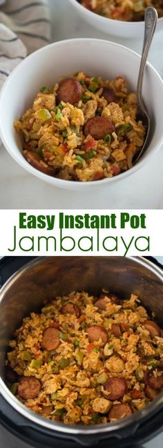 Instant Pot Chicken and Sausage Jambalaya made with andouille sausage chicken uncooked rice bell pepper onion celery and spices cooked in just one pan for an easy dinner. Crockpot Recipes, Cooking Recipes, Healthy Recipes, Easy Instapot Recipes, Cooking Bacon, Hamburger Recipes, Cooking Wine, Cooking Games, Cooking Light