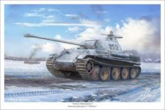 """Pzkpfw-V Ausf.G """"Panther"""" in winter camo - Armor Masterpiece by markkarvon Panther, Military Art, Military History, Tank Wallpaper, Winter Camo, Show Boat, Military Drawings, Ww2 Tanks, German Army"""