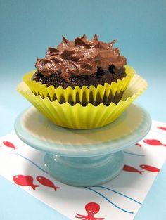 banana chocolate cupcake with chocolate frosting