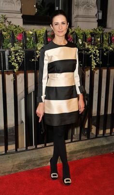 Black and Cream Striped dress with black tights