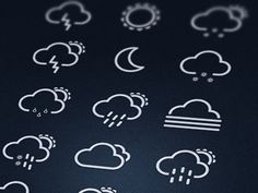 Weather icons designed by Konrad Kolasa. Weather Icons, Application Design, Glyphs, User Interface, Monograms, Product Design, Icon Design, Business Cards, Graphic Design