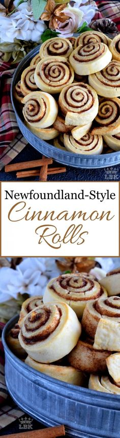 Newfoundland Style Cinnamon Rolls - Made without yeast, Newfoundland Style Cinnamon Rolls are less like bread and more like a biscuit. No icing needed here; perfection doesn't need to be dressed up! Best Breakfast Recipes, Savory Breakfast, Brunch Recipes, Dessert Recipes, Breakfast Time, Breakfast Ideas, Apple Recipes, Sweet Recipes, Baking Recipes