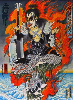 'Gene Simmons Fudo' by Mike Dorsey ( Japanese Drawings, Japanese Prints, Japanese Art, Samourai Tattoo, Samurai, Rock Tattoo, Surreal Artwork, Traditional Tattoo Design, Kiss Art