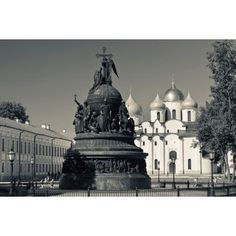 Millennium of Russia Monument with Saint Sophia Cathedral in the background Novgorod Kremlin Veliky Novgorod Russia Canvas Art - Panoramic Images (36 x 12)
