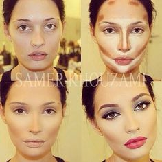 before after contouring&highlighting...whoa thats a whole lot of makeup!