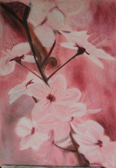 Bloemen op roze papier  pastelkrijt