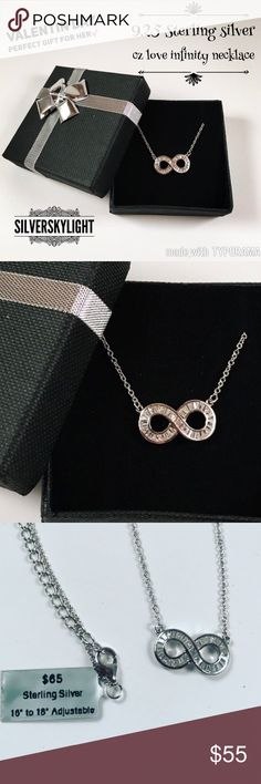 Women sterling silver Infinity love necklace Women Infinity love necklace. 9.25 Sterling silver and white gold plated! Baguette cubic zirconia.  Very cute and elegant , perfect Valentin gift for her! Comes on a 16 to 18 inch adjustable sterling silver chain. Any questions let me know!!😊 I ship fast !!😊✈️😉 Jewelry Necklaces