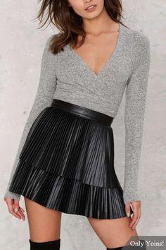 Black PU Two Layers High-waist Pleated A-line Skirt
