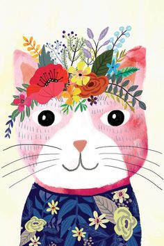 Cute Pink Cat with Floral Crown Art Print – Funny Decoration Gift – Cute Room Decor – Poster by Mia Charro : Flower cat (pink) I Love Cats, Crazy Cats, Chat Rose, Crown Art, Crown Decor, Pink Cat, Cat Drawing, Cute Pink, Animal Drawings