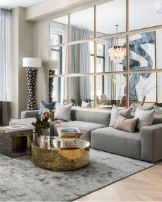 Living room, elegant, mirrored wall