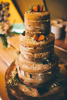 A lovely rustic naked cake dusted in sugar