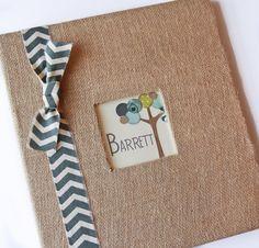 "Baby Boy Burlap Scrapbook, Chevron Ribbon, ""Friendly Forest"" by chicmemories on Etsy https://www.etsy.com/listing/230606766/baby-boy-burlap-scrapbook-chevron-ribbon"