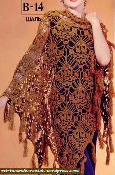 Crochet scarves 836614068254928847 - Shawl with beautiful crochet pattern (only scheme) Poncho Au Crochet, Crochet Shawls And Wraps, Knitted Shawls, Love Crochet, Crochet Scarves, Beautiful Crochet, Crochet Clothes, Crochet Lace, Crochet Stitches