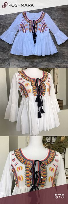 SALE!!! MISA Los Angeles Elle Top MISA Los Angeles Elle Top - Size Small. Embroidered with sequins. Good, used condition. MISA Los Angeles Tops Blouses