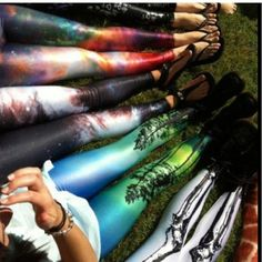 #skeleton , #galaxy , #tree #leggings ! Id love to have all of these colorful leggingsss!#Pin By:Pinterest++ for iPad#