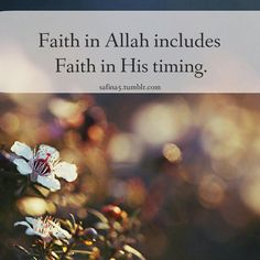 Faith in Allah includes Faith in his timing..subhaan Allah I know that no matter what happens in life its beneficial to me I trust Allah with everything :-)..