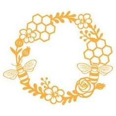 Silhouette Design Store - View Design #139721: honey bee wreath