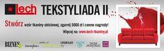 II edycja konkursu TEKSTYLIADA - na nietuzinkowy wzór tkaniny obiciowej. Weź udział w konkursie i WYGRAJ 5000 ZŁ :) czekamy na projekty do 15 stycznia 2017! Więcej informacji: http://www.lech-tkaniny.pl/ #konkurs #wzornictwo #tkaniny #tekstylada