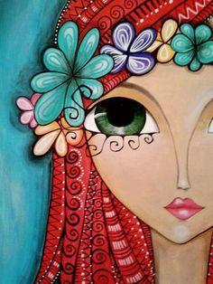 Risultati immagini per romina lerda corazon mandala Whimsical Art, Face Art, Medium Art, Doodle Art, Painting Inspiration, Painted Rocks, Art Drawings, Wall Drawing, Art Projects