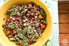 Moroccan-Inspired Quinoa Salad (quinoa, chickpeas, baby spinach, bell peppers, raisins, almonds, capers & tahini dressing)