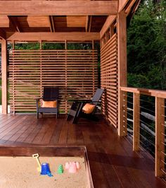 Pretty deck, railing, privacy fence.