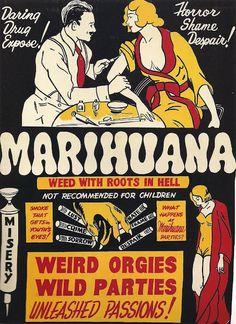 "Vintage Marihuana/ Marijuana Anti Drugs Poster Reminds me of ""Reefer Madness"" Propaganda. Poster A3, Old Poster, Retro Poster, Retro Ads, Retro Vintage, Funny Vintage Ads, Vintage Sweets, Poster Vintage, Old Advertisements"