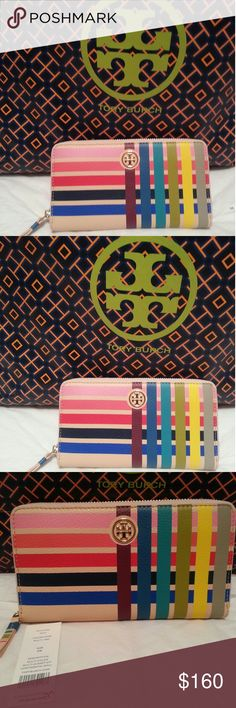 TORY BURCH,  BRYANT FOLDABLE WALLET Pebbled-Leather, multi color continental wallet, double bills 16 card slots Goldtone Hardware,  top zip TORY BURCH Accessories