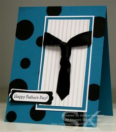 handmade Father's Day card ... blue, black and white ... main panel witha man's tie ... giant black polka dots on blue ... wonderful card!!