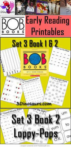 FREE BOB Book Printables- Set 3, Book 2: Lolly-Pops - This week you will find Vowel Word Paths, Read Write & Stamp, Making BOB Book Words, Write a Sentence with the Word, Color the Sight Word, Tally Mark as you read, Rhyming Word matching and Cube Flashcards. All the words from the books are used.