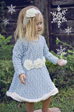 Cach Cach Blue Snowflake Fur Trimmed Dress<BR>12 Months to 6X<BR>Now in Stock