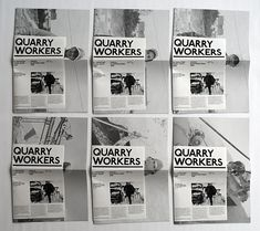 Photographs of quarry workers, published in 6 different editions, assembled in 6 variable configurations and serially numbered.