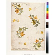 Leman, James, born 1688 - died 1745 (designer). Design for woven silk from the 'Liddiard Set', in pencil, pen and ink and watercolour on laid paper, in yellow, red, blue, green and dark brown/black, depicting sprigs of stylised flowers and leaves, as well as smaller decorative floral motifs.