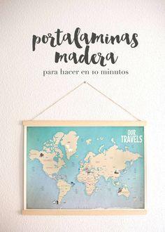 Custom push pin travel world map canvas watercolor gray portalaminas de madera diy diy wooden print hanger gumiabroncs Choice Image