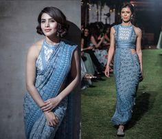 GET THE LOOK!  Samantha Akkineni wearing Anita Dongre's Powder Blue Digital Print Saree with Blouse!  Shop this gorgeous attire!  #samanthaakkineni #anitadongre #saree #blue #elegance #ethnic #shopnow #indiandesigners #indianfashion #luxuryshopping #perniaspopupshop #happyshopping