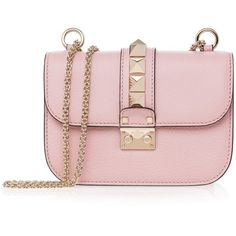 Valentino Rockstud Leather Shoulder Bag ($1,942) ❤ liked on Polyvore featuring bags, handbags, shoulder bags, pink, pink shoulder bag, chain shoulder bag, chain strap handbags, pink handbags and pink leather purse