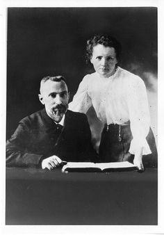 Scientists in Love: Pierre Curie (1859-1906) and Marie Sklodowska Curie (1867-1934) were jointly awarded the Nobel Prize for Physics in 1903 for discovery of the radioactive elements polonium and radium. Even today, the Curies provide inspiration for popular culture and textbook discussions of science. This photograph was circulated during the 1960s as publicity for an educational television program about the discovery of radium.