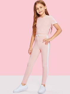 Girls Stripe Side Ribbed Knit Hoodie and Pants Set -SheIn(Sheinside) Girls Summer Outfits, Dresses Kids Girl, Cute Girl Outfits, Cute Outfits For Kids, Girls Fashion Clothes, Tween Fashion, Teen Fashion Outfits, Cute Girls Clothes, Tween Girls Clothing