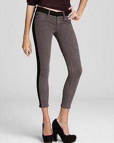 Hudson Jeans - LeeLoo Color Block Super Skinny Crop in Steel Grey - Denim -  Apparel f99bcb2f47