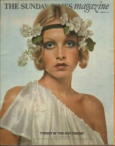 English fashion model, actor, and singer Twiggy in costume as her character from Ken Russell's The Boyfriend, on the 2 January issue of The Sunday Times Magazine, England, United Kingdom, 1972, photograph by Justin de Villeneuve.