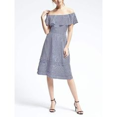 Banana Republic Womens Off Shoulder Stripe Dress ($128) ❤ liked on Polyvore featuring dresses, royal blue, banana republic dresses and banana republic