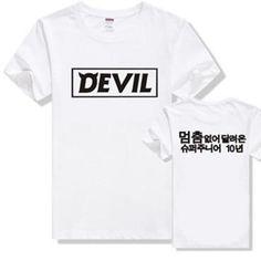 Super Junior Devil Korean Style Ulzzang Harajuku K-pop K pop Hip Hop Rock Punk Shirt Lolita Letter Tshirt  Super Junior Kpop #Affiliate