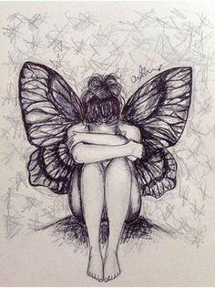 Large in fairy drawings Fairy Drawings, Dark Art Drawings, Pencil Art Drawings, Cool Drawings, Angel Drawing, Butterfly Drawing, Wings Drawing, Girl Drawing Sketches, Art Drawings Sketches Simple