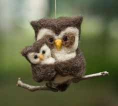 Needle+Felted+Owl | Needle Felted Owl Ornament - Family of Two | HOOT!