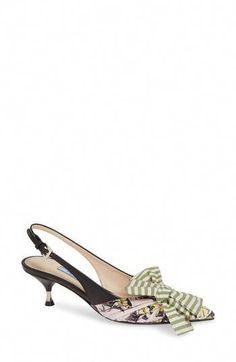 Enjoy exclusive for Prada Bow Slingback Pump (Women) online - Topbrandshits Platform Wedge Sandals, Slide Sandals, Slingback Pump, Loafers For Women, Women's Pumps, Shoe Collection, Low Heels, Prada, Kitten Heels