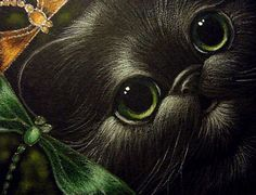 LOVELY BLACK KITTEN CAT w DRAGONFLIES - by Cyra R. Cancel from ...